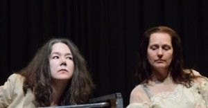 Listening with Ana Barbour (left) and Jeannie Donald McKim in Dolls' House Cafe Reason photo Paul Freestone